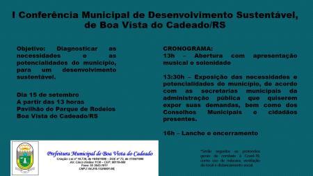 I Conferência Municipal de Desenvolvimento Sustentável (I CMDS) de Boa Vista do Cadeado, RS